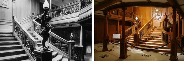 Titanic's Grand Staircase, original on left; replica on right (image by cliff1066)