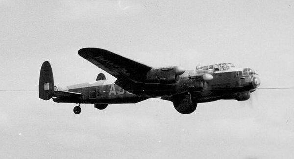 Avro Lancaster bomber practices for the Dambusters raid over Derbyshire's Derwent Dam during World War Two