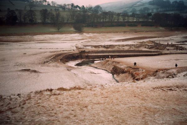 The flooded village ruins of Derwent and Ashopton in Derbyshire