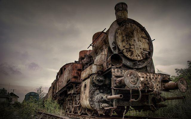 urban explorer photographs abandoned train graveyard