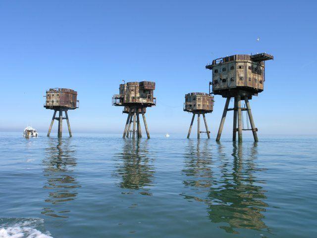 Abandoned sea forts off the coast of Britain