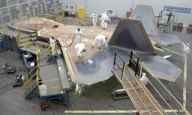 Painting a Lockheed F-22 Raptor in Marietta, Georgia