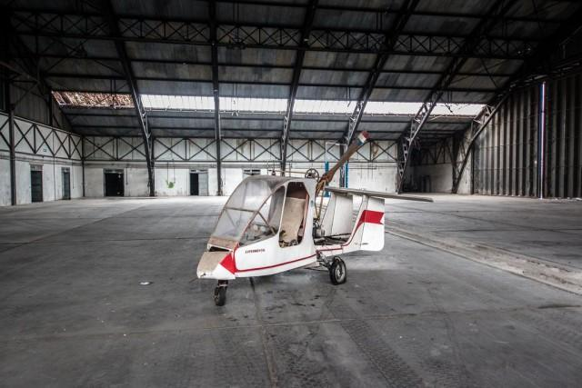Abandoned Autogyro Found in Cavernous Airplane Hangar