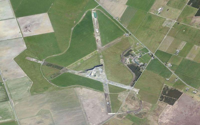 The abandoned Coastal Command runways of RAF Skitten, Caithness, from above