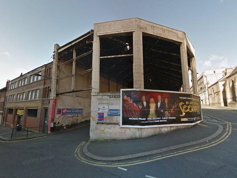 Derelict shell of the former Worswick Street bus station, Newcastle upon Tyne