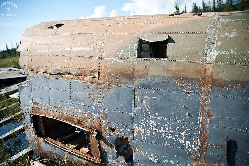 The wreck of Avro Lancaster NF920 nicknamed Easy Elsie near Porjus in Sweden where it crash-landed after a raid against the German battleship Tirpitz 1
