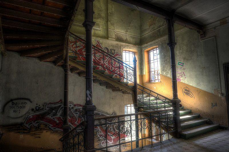 The haunting interior of an abandoned Neo-Renaissance mansion