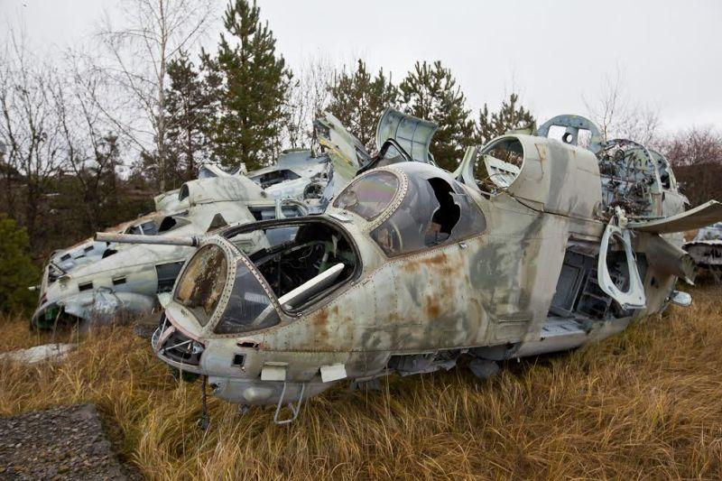 Abandoned Mil Mi-24 Hind choppers