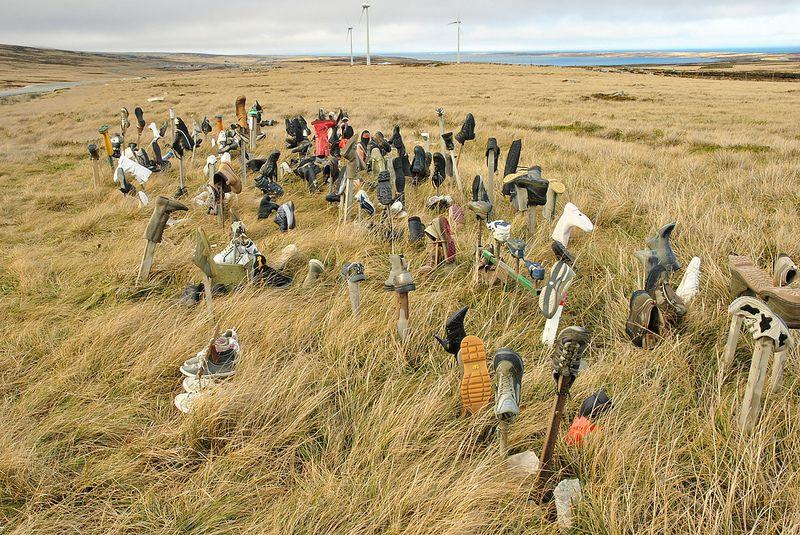 The bizarre Boot Hill monument of the Falkland Islands