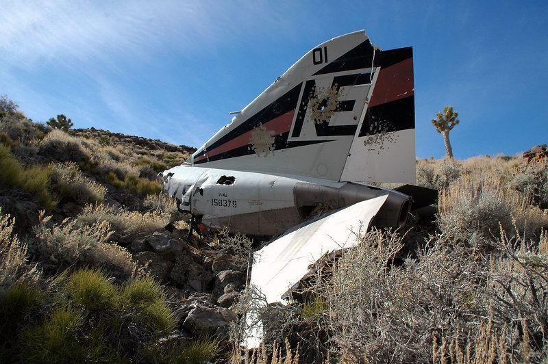 The surviving tail section of crashed F-4J Phantom 158379 on the Coso Range in California