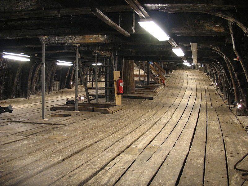 Inside the warship Vasa's lower gun deck