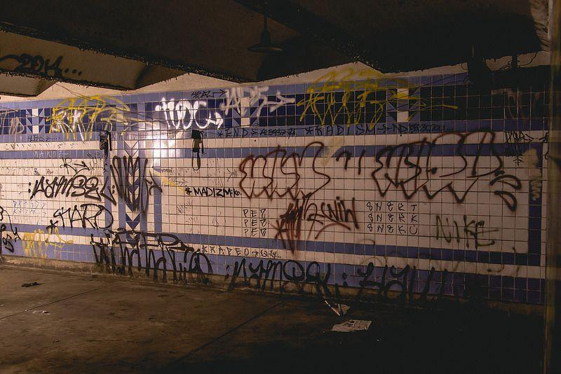 Graffiti inside an abandoned Philly subway station