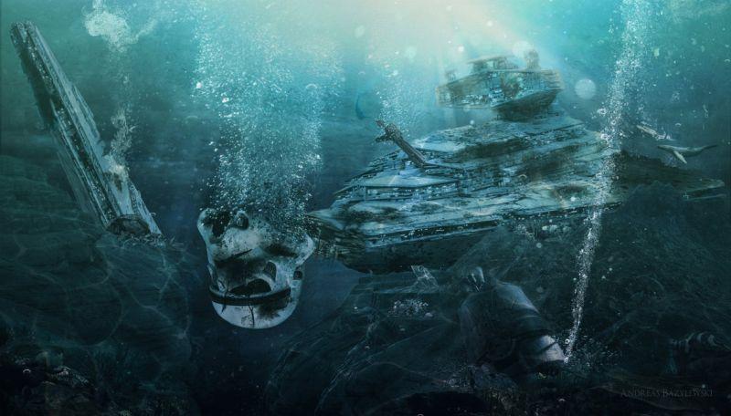 a crashed Star Destroyer sinks to the depths