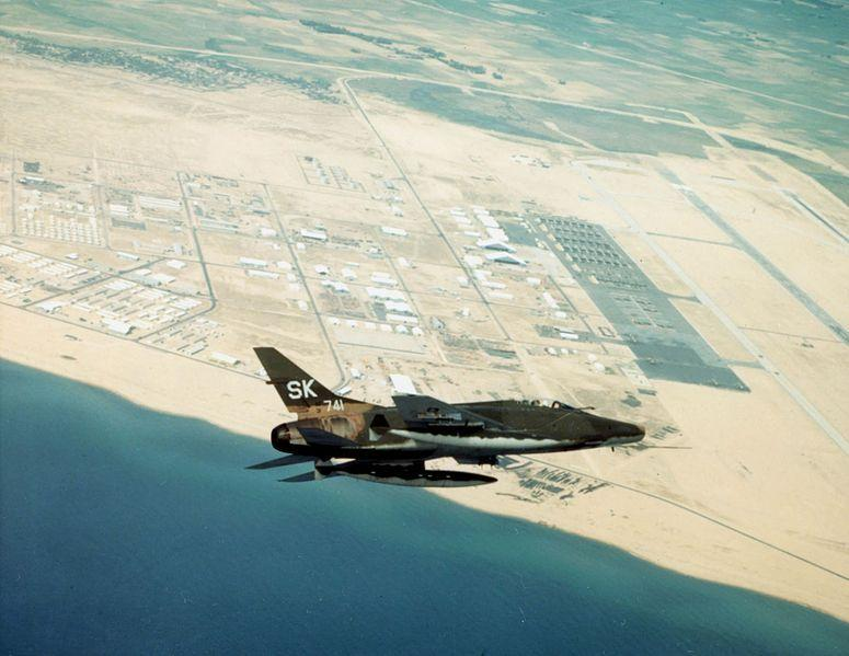 F-100 over Tuy Hoa Air Base during the Vietnam War