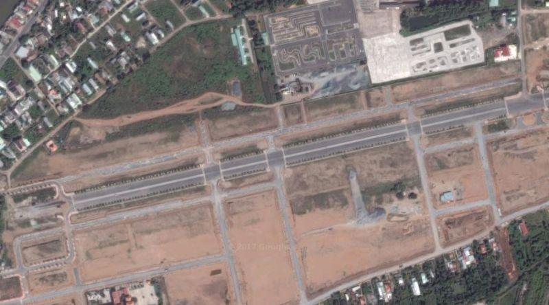 The outline of the abandoned Vĩnh Long Airfield from the Vietnam War