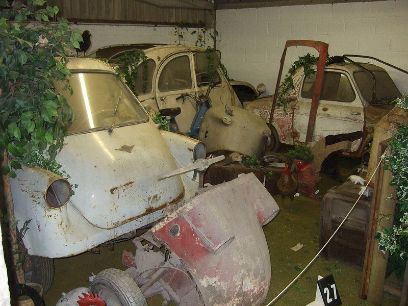 Scrap microcars at the Bubblecar Museum in Langrick, Lincolnshire.