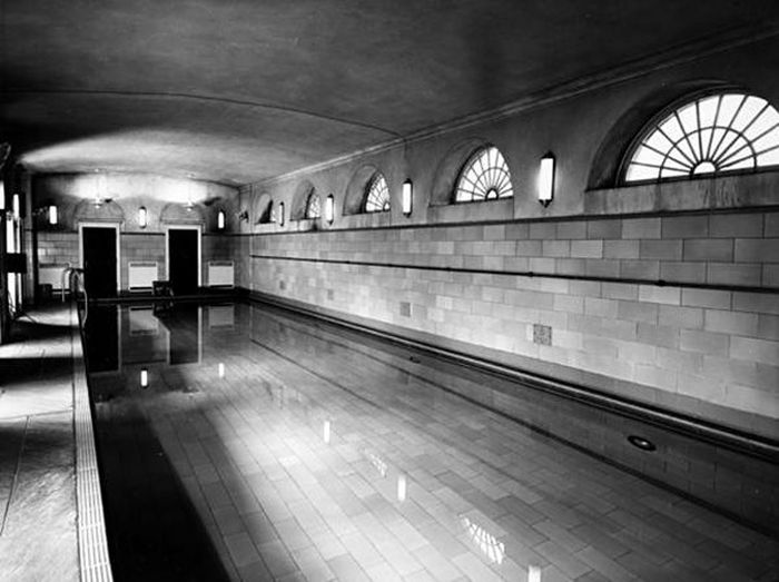 Still in use: the now-hidden White House swimming pool in 1948