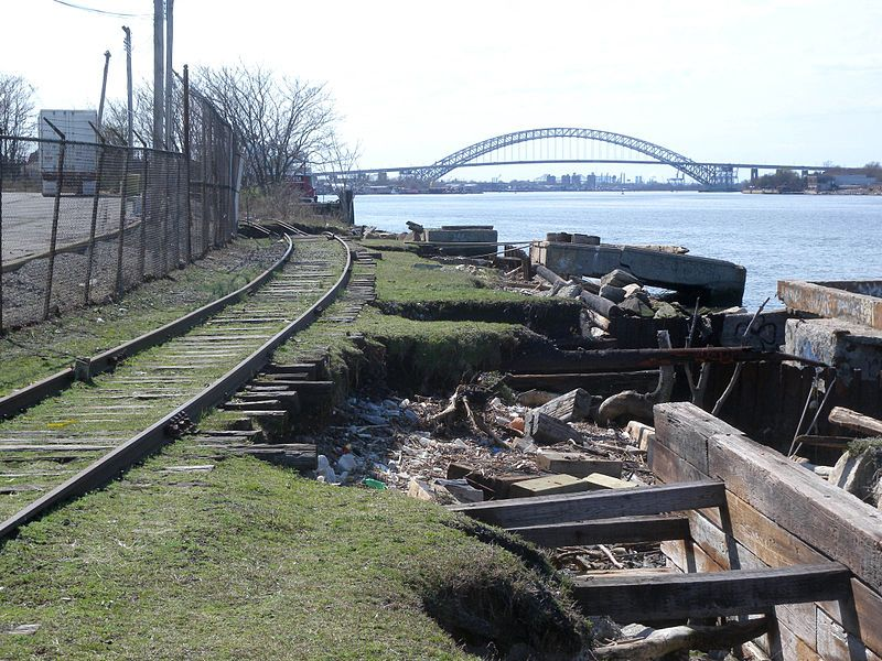 Remains of disused Livingston station on the abandoned North Shore Branch of the Staten Island Railway
