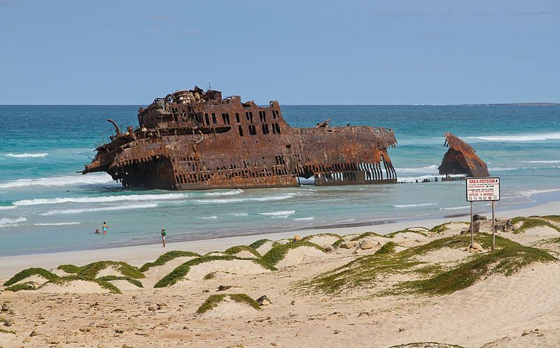 The rusting hulk of 50-year-old shipwreck Cabo Santa Maria