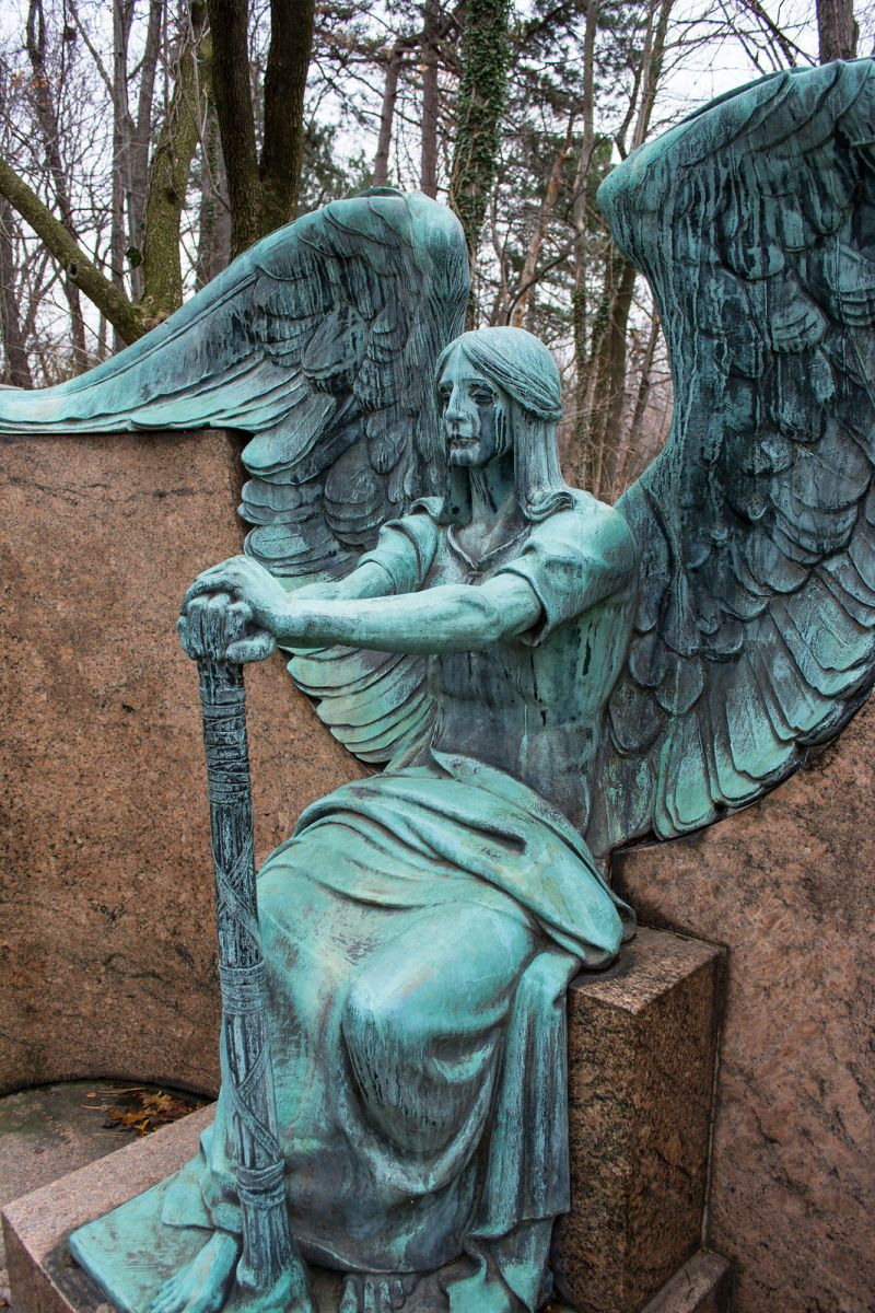 The Weeping Angel statue guards the family tomb of Francis Haserot