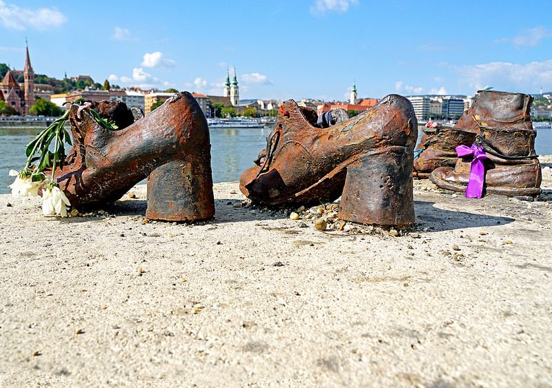 Shoes on the Danube: a haunting and poignant holocaust memorial in Budapest, Hungary.