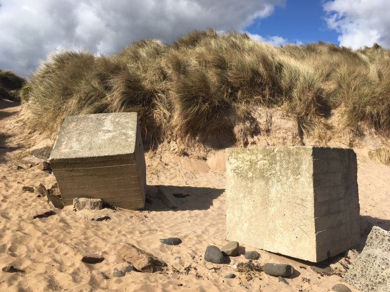 The anti tank blocks in Embleton Bay echo the expansive wartime defences built along the coast of Britain during the Second World War.