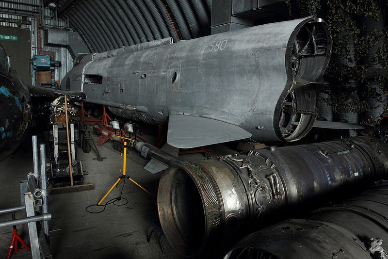 English Electric Lightning ZF580 in storage at Newquay Airport, Cornwall.