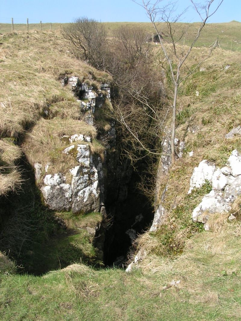 The forbidding chasm known as Eldon Hole between Peak Forest and Castleton, in the Derbyshire Peak District.