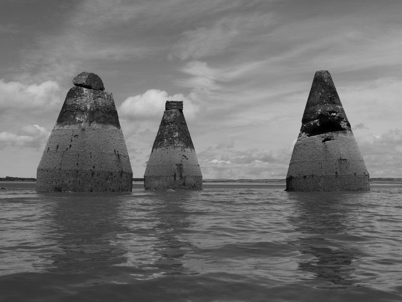 Abandoned 1930s target bases on Luce Bay bombing range.